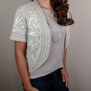 Crocheted cream ivory blended short sleeve shrug